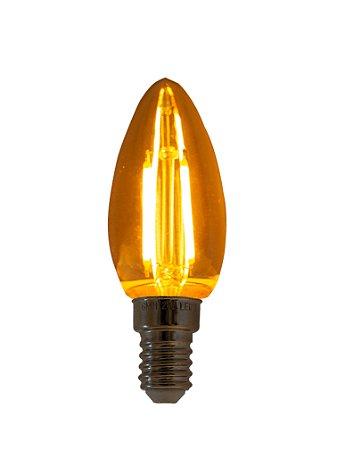 Lâmpada de Filamento LED Vela Chama 2W base 110V E14