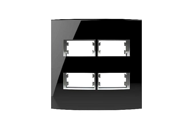 Placa  4X4 4MOD, DIST, C/ SUP, INOVA PRO CLASS BLACK P REF: 85531