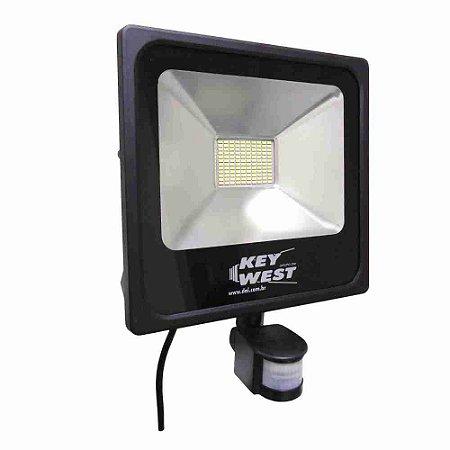 REFLETOR HOLOFOTE LED 50W SLIM C/ SENSOR - BRANCO FRIO - BIVOLT REF: 6036