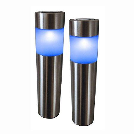 LUMINARIA SOLAR BALIZADORA TIPO POSTE DE INOX LED AZ KIT 2 REF: 6119