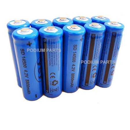 Kit 100 Bateria 14500 4,2v Recarregável para Mini Lanterna
