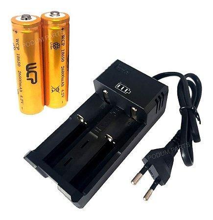 Kit Carregador Duplo + 2 Bateria 18650 Recarregável 4,2v
