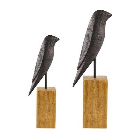 Conjunto Escultura Pássaro em Poliresina