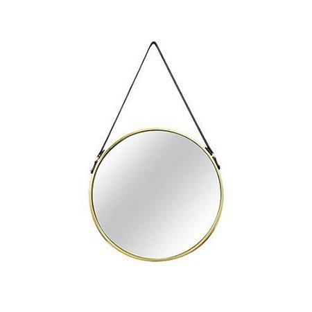 6381 - Espelho Dourado Em Metal