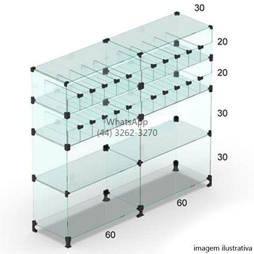Balcão de Vidro Baleiro - 1,10 x 1,20