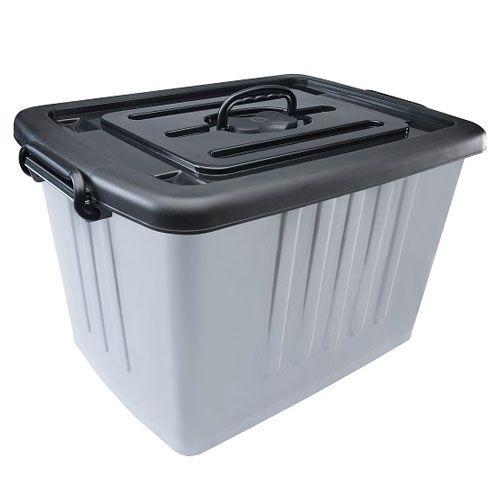 Caixa Container Plástico Cinza - Escolha o Tamanho