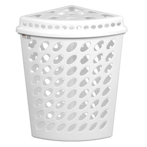 Cesto Plástico Triangular Telado Com Tampa 43,7 litros