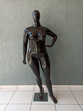 Manequim Feminino de Fibra Plus Size Preto