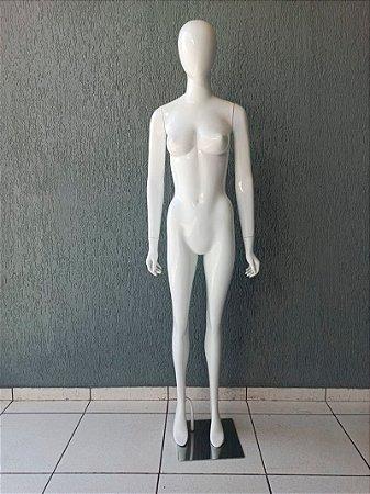 Manequim Feminino de Fibra Magra Braços Reto