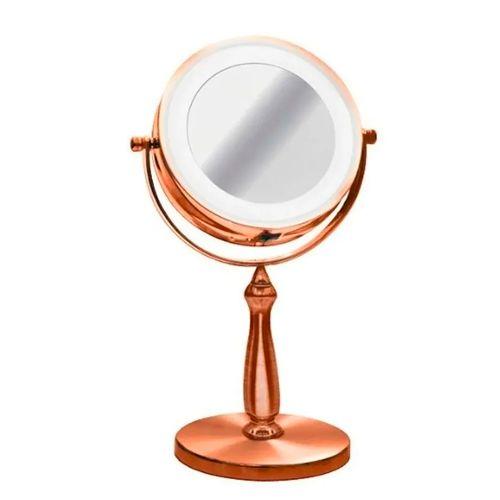 Espelho de Mesa Bronze Facial Banheiro Luz Led Aumento 5x Maquiagem