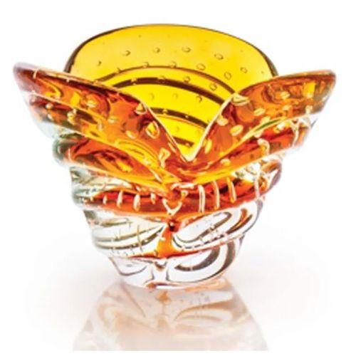 Vaso Decorativo Mesa Pequeno Cristal Murano Âmbar São Marcos