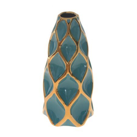 Vaso De Cerâmica Decor Glass Verde Agua