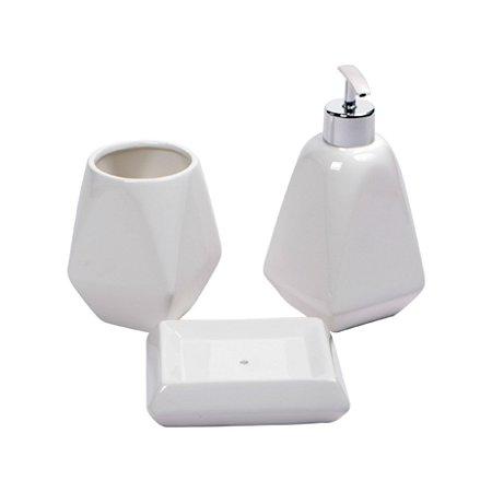 Conjunto Ceramica 3 Peças Para Banheiro Decor Glass