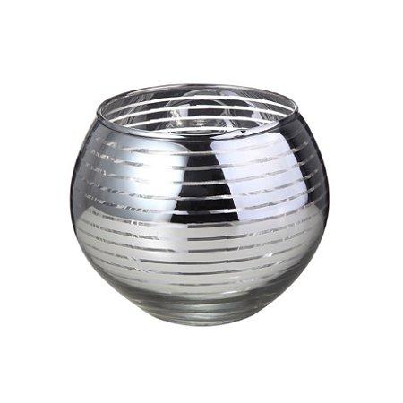 Porta Vela Redonda Decor Glass Prata