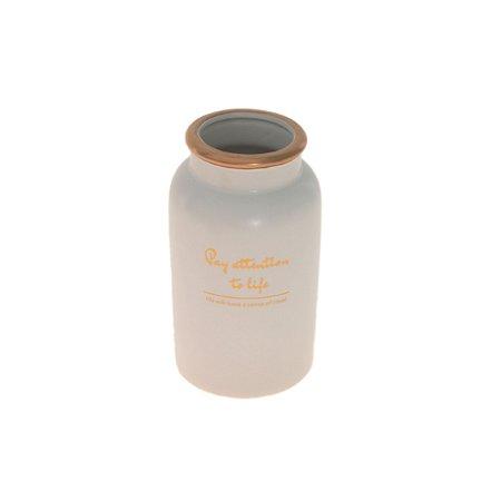 Vaso De Cerâmica Pequeno Decor Glass Branco