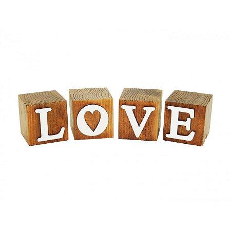 Cubo De Madeira Letreiro Branco Love