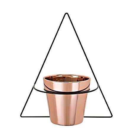 09508 - Vaso Rose Gold Em Cerâmica Com Suporte De Parede