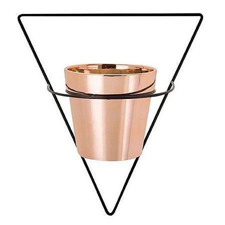 09511 - Vaso Rose Gold Em Cerâmica Com Suporte De Parede