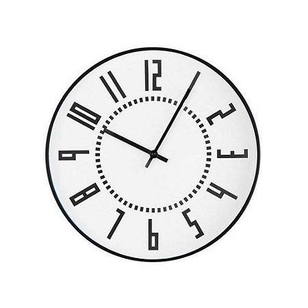 12945 - Relógio De Parede Branco E Preto