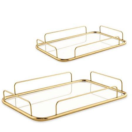 13043 Kit Bandeija Dourada Em Metal Com Espelho