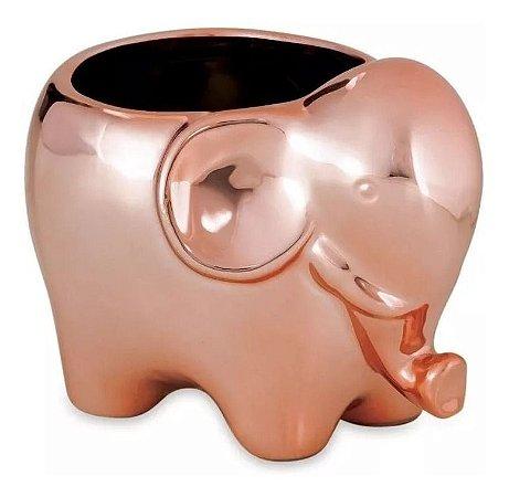 08621 - Vaso Cachepot Elefante Rosé Gold em Cerâmica