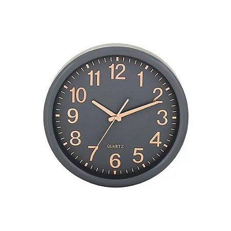09400 - Relógio de Parede Cinza e Rosé Gold