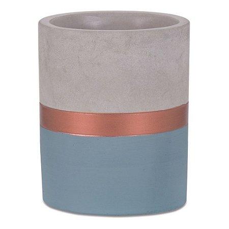 7706 - Vaso Azul e Cobre em Cimento
