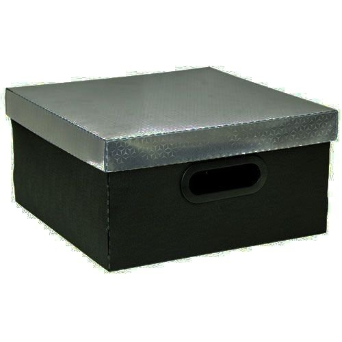 Caixa Organizadora Metalizada Dello 30 x 30 x 16 cm - Preta