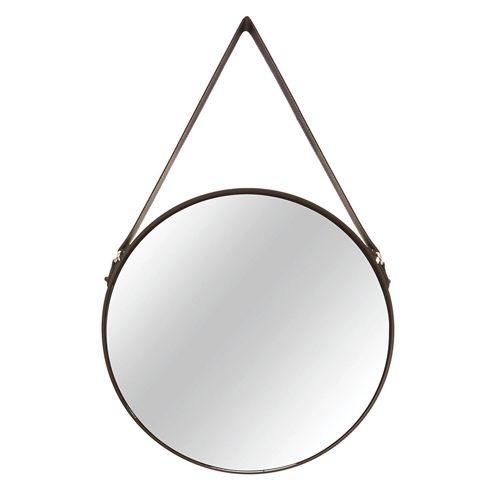 Espelho Decorativo Preto Metal Redondo 40cm Com Alça 7293