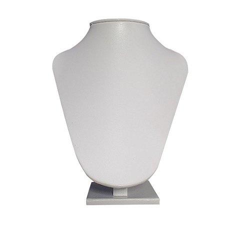 Expositor De Colar Busto Reto Com Ponta Em Courino Branco