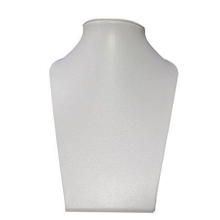 Expositor De Colar Busto Reto Em Courino Grande Branco