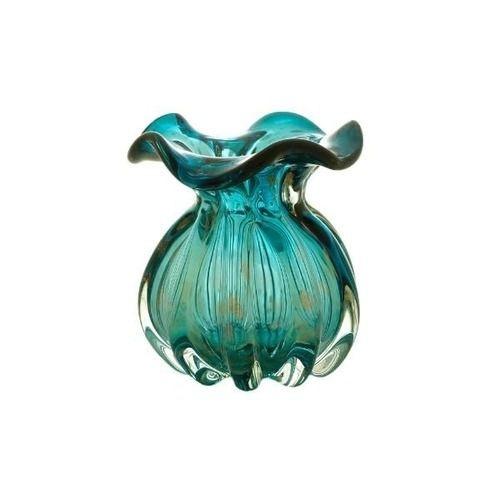 Vaso De Vidro Italy Azul Marinho E Rose 10 X 11 Cm