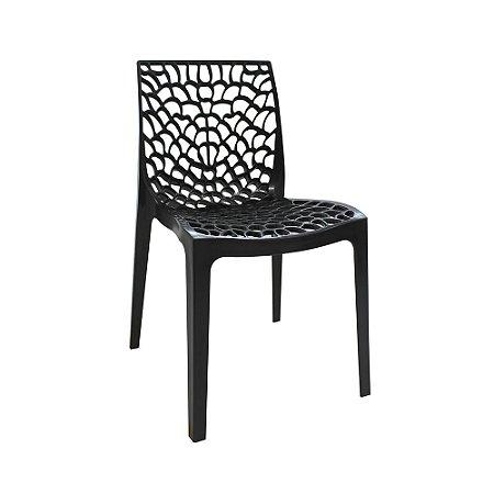 Cadeira Gruvyer Polipropileno Alto Brilho Preto