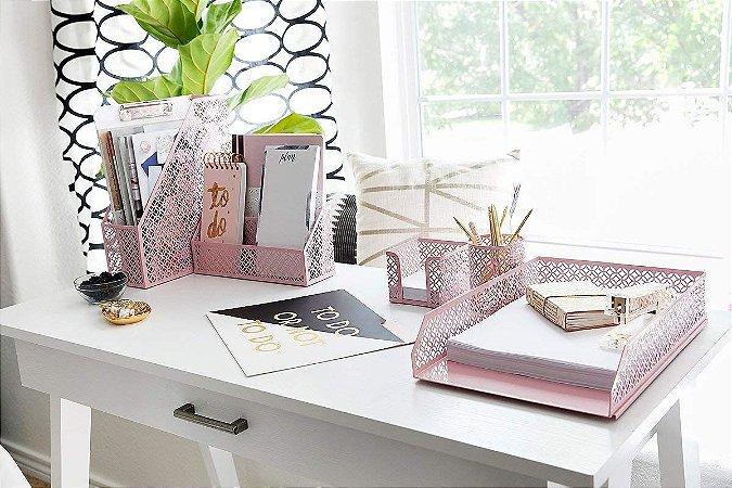 Kit organizador de escritório glamour rosa