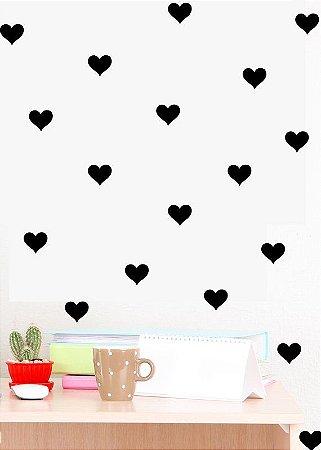 Adesivos coração preto (100 unidades)