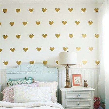 Adesivo coração dourado (100 unidades)