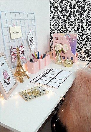 Kit escritório rosa delicado com dourado