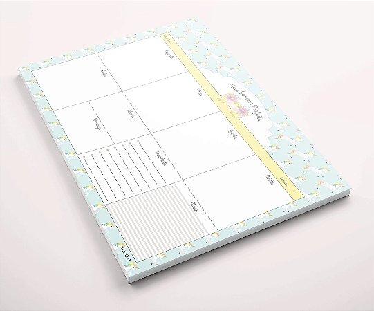 Planner de mesa semanal unicórnios