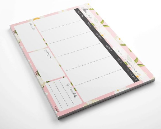 Planner de mesa semanal personalizado floral rose