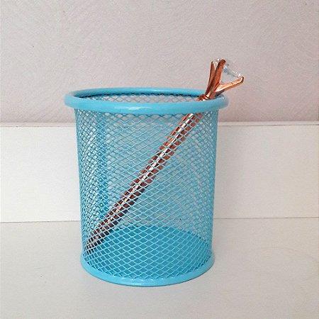 Porta lápis aramado azul