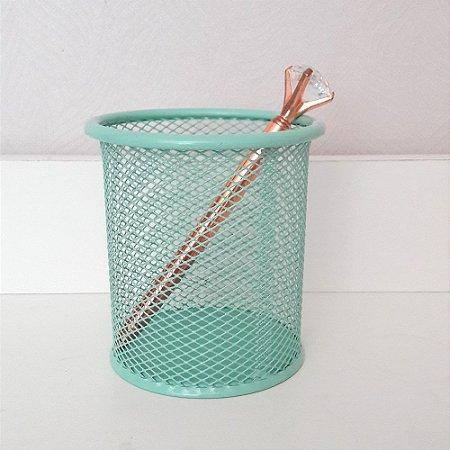 Porta lápis aramado verde tifany