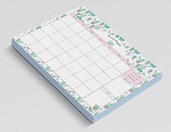 Planner de Mesa Mensal Cactos