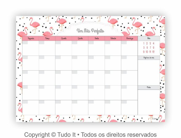 Planner de mesa mensal flamingos