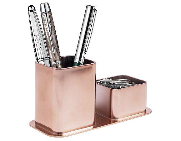 Porta canetas e clips metalizado