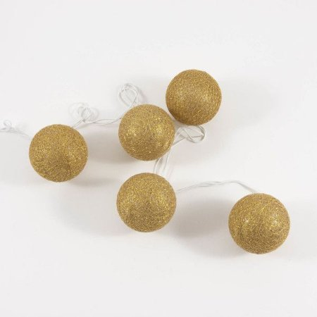 Cordão de luz bolas douradas - 10 bolas