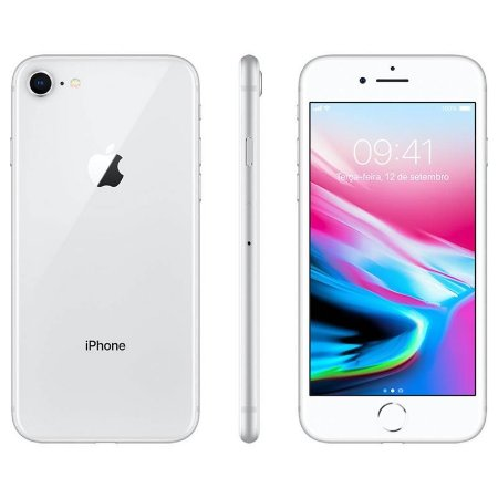iPhone 8 64gb Apple 4G Desbloqueado Prateado - Lacrado Garantia Apple de 1 Ano