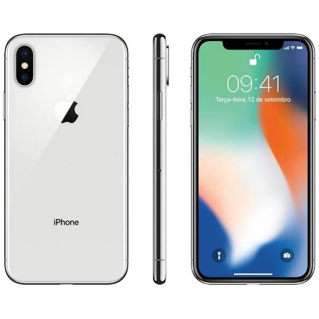 iPhone X 256gb Apple 4G Desbloqueado Braco com Prata - Lacrado Garantia Apple de 1 Ano