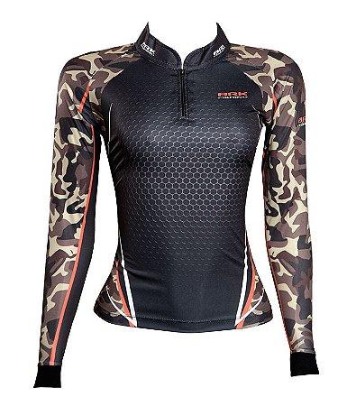 Camisa de Pesca Feminina Brk Dark Military com fpu 50+