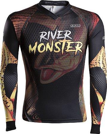 Camisa de Pesca Brk River Monster Dourado com fpu 50+
