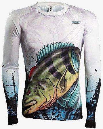Camisa de Pesca Brk Combat Fish Tucunare Azul 2.0 fpu 50+